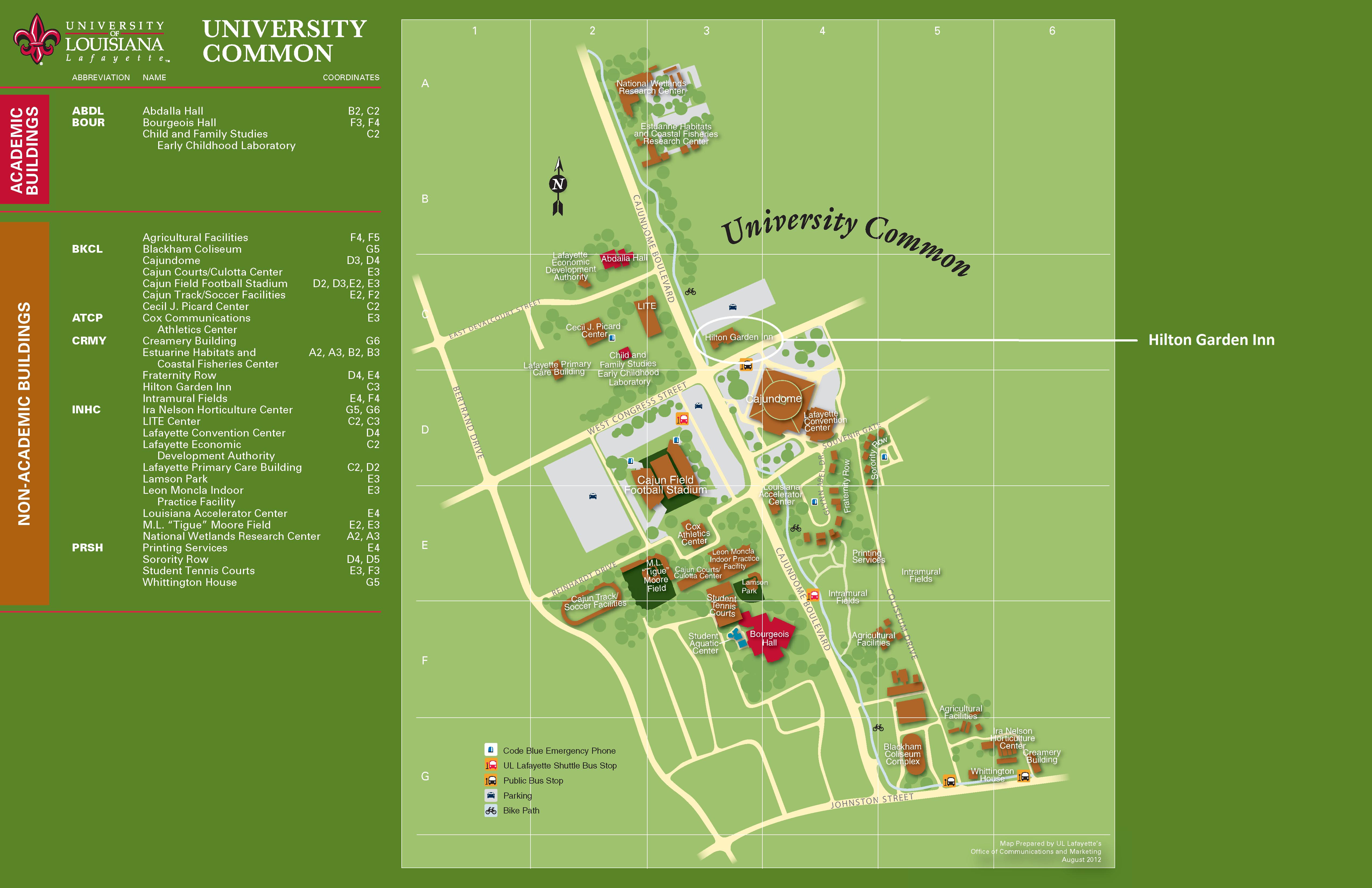 map of university of louisiana at lafayette Ul Campus Map Lafayette map of university of louisiana at lafayette