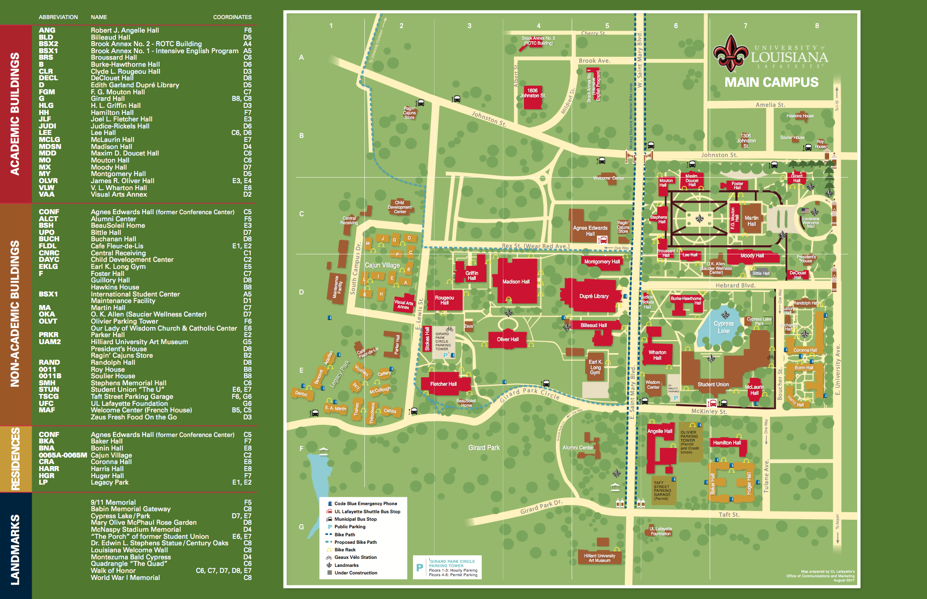 Ull Campus Map Ull Campus Map | States Maps